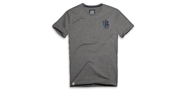 Pánske tmavo šedé bavlnené tričko s ornamentom Paul Stragas
