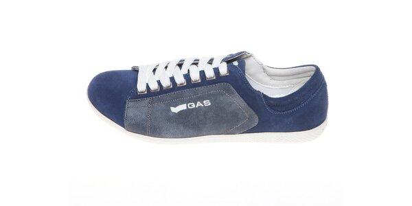 Pánske modré tenisky s bielym logom GAS