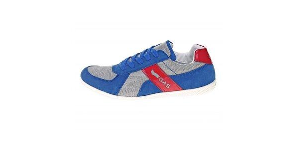 Pánske modré tenisky s červeným pruhom GAS