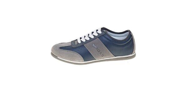 Pánske šedo-modré kožené tenisky GAS