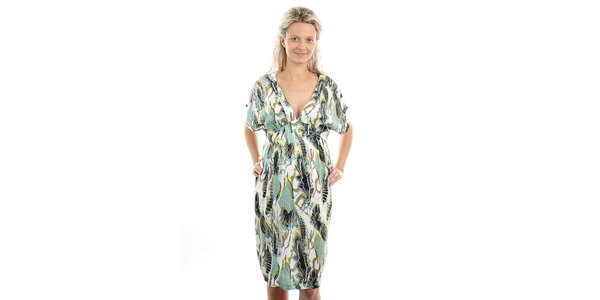 Dámske tehotenské zelenkavé šaty s pestrým vzorom Next Maternity