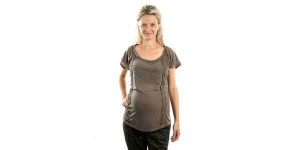 Dámske popolavé tehotenské tričko Next s čipkou