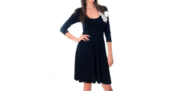 Dámske čierne šaty Ribelli s bielou mašľou