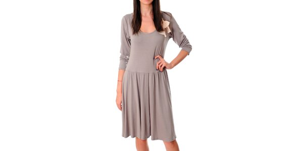 Dámske béžové šaty Ribelli s bielou mašľou