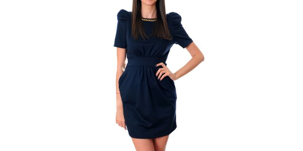 Dámske tmavo modré šaty Ribelli so zlatou retiazkou