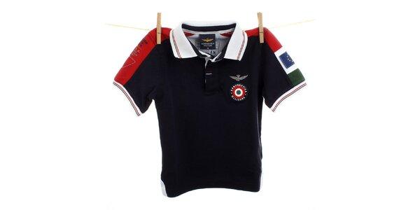 Detské čierne polo s červenými ramenami Aeronautica Militare