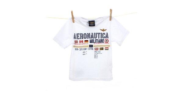 Detské biele tričko s výšivkami Aeronautica Militare