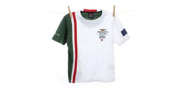 Detské biele tričko so zeleným rukávom Aeronautica Militare