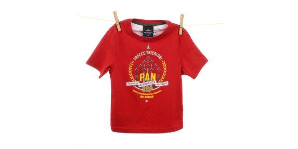 Detské červené tričko s žlto-bielou potlačou Aeronautica Militare