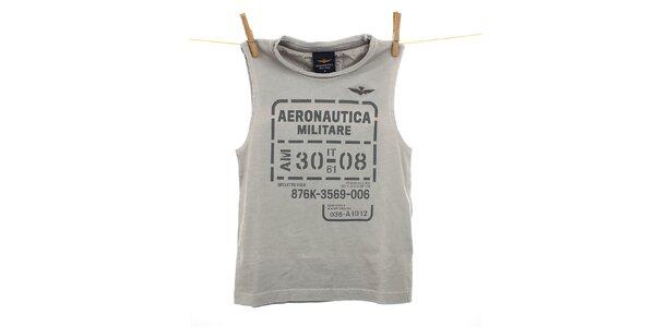 Detské šedo-béžové tielko Aeronautica Militare