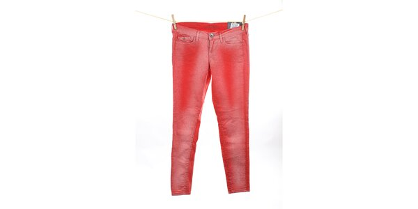 Dámske korálovo červené skinny džínsy Pepe Jeans
