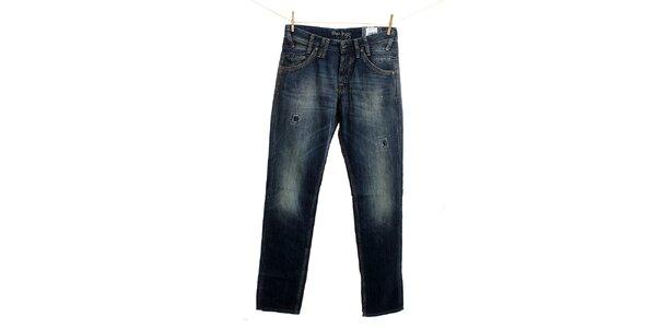 Pánske tmavo modré džínsy so záplatami Pepe Jeans