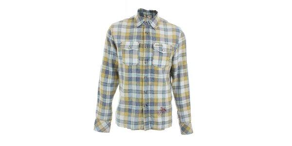 Pánska žlto-modro kockovaná košeľa Pepe Jeans
