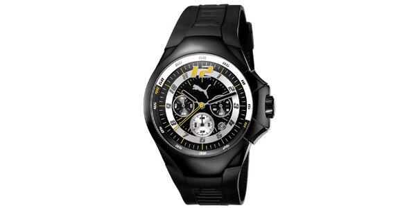 Pánske čierne oceľové hodinky s pryžovým remienkom Puma