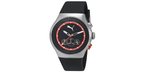 Pánske strieborné hodinky s čiernym ciferníkom a chronografom Puma