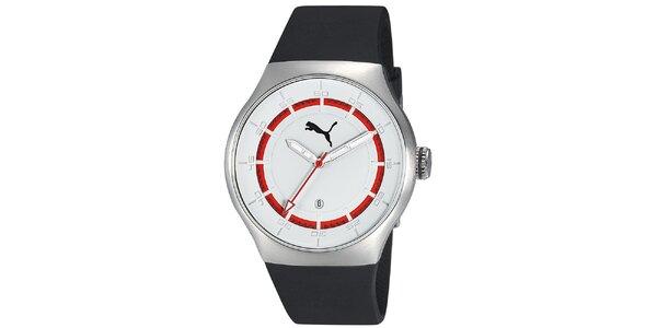 Pánske strieborné hodinky s červeným prúžkom Puma