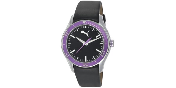 Dámske fialovo-čierne analogové hodinky Puma