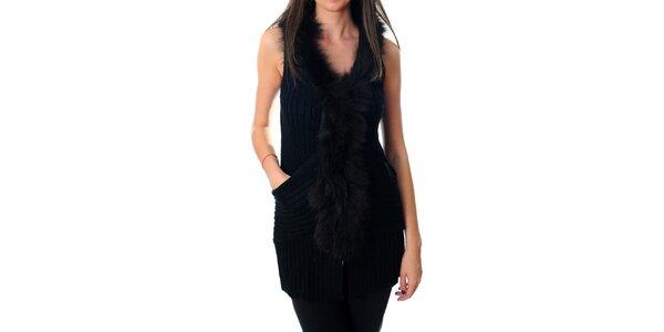 Dámska dlhá čierna vesta Ribelli s kožušinou