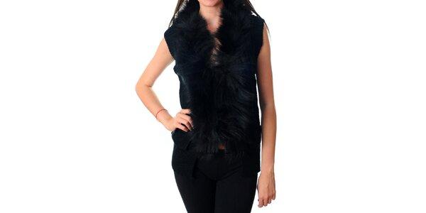 Dámska krátka čierna vesta Ribelli s kožušinou