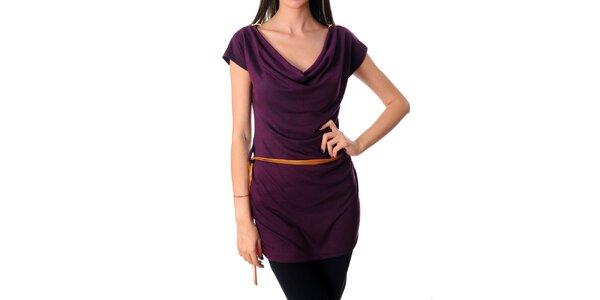 Dámske tmavo fialové šaty Ribelli