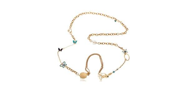 Dámsky zlatý oceľový náhrdelník Guess s motýlikmi