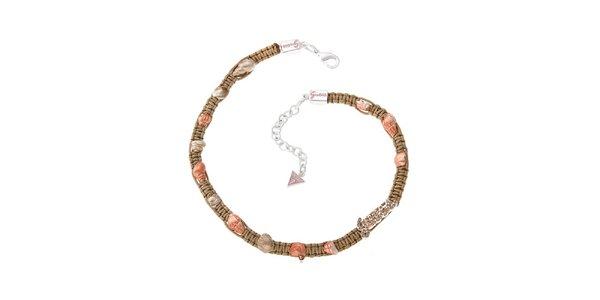 Dámsky béžovo-ružový textilný náhrdelník Guess