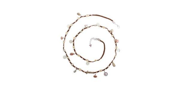 Dámsky textilný náhrdelník Guess s lastúrami