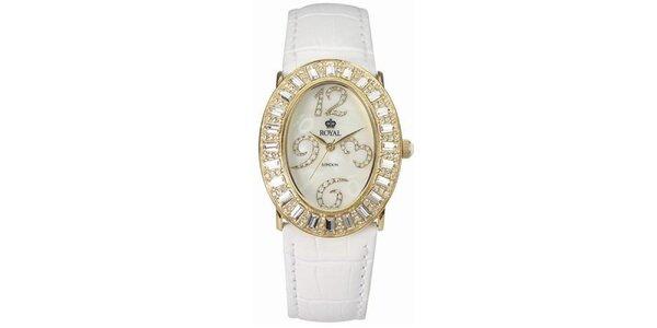 Dámske zlaté hodinky s kamienkami a bielym remienkom Royal London
