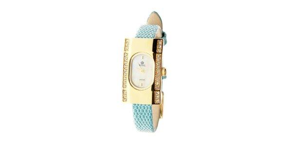 Dámske zlaté hodinky s tyrkysovým remienkom Royal London