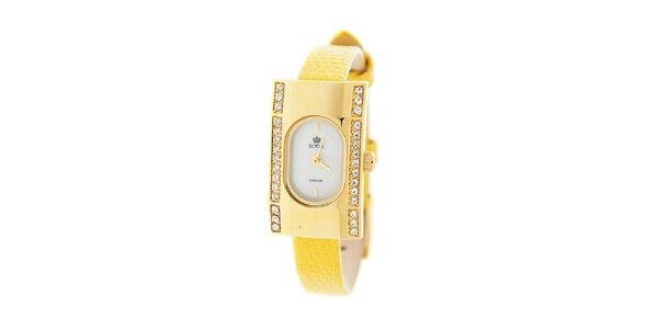 Dámske zlaté hodinky so žltým remienkom Royal London