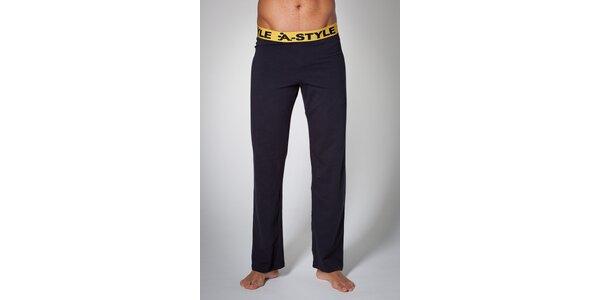 Pánske čierne domáce nohavice A-Style s potlačou