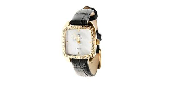 Dámske zlaté zaoblené hodinky s kamienkami Royal London
