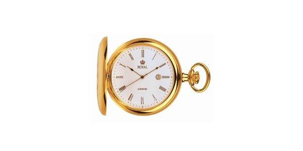 Pozlátené vreckové oceľové hodinky Royal London