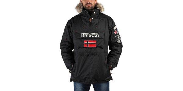Pánska čierna zimná bunda s kožúškom a norskou vlajkou Geographical Norway