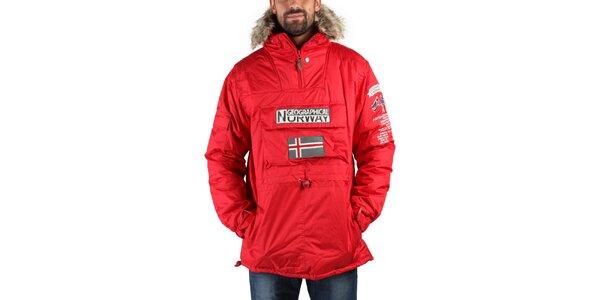 Pánska červená zimná bunda s kožúškom a norskou vlajkou Geographical Norway