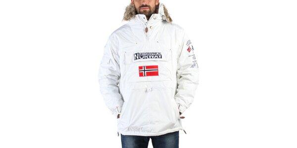 Pánska biela zimná bunda s kožúškom a norskou vlajkou Geographical Norway