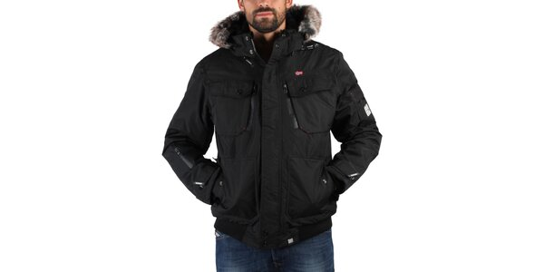 Pánska čierna zimná bunda s kožúškom Geographical Norway
