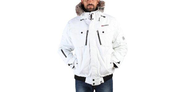 Pánska biela zimná bunda s kožúškom Geographical Norway