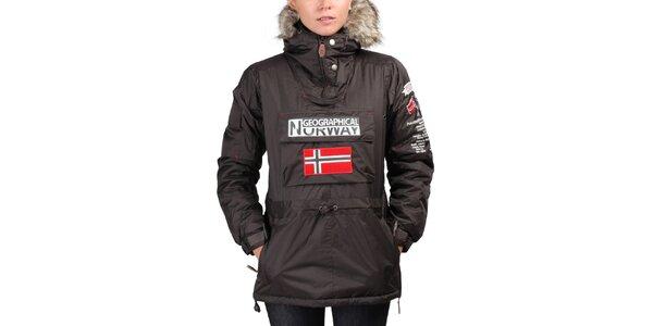 Dámska hnedá bunda s norskou vlajkou Geographical Norway