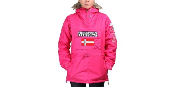 Dámska ružová bunda s norskou vlajkou Geographical Norway