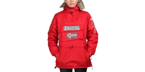 Dámska červená bunda s norskou vlajkou Geographical Norway
