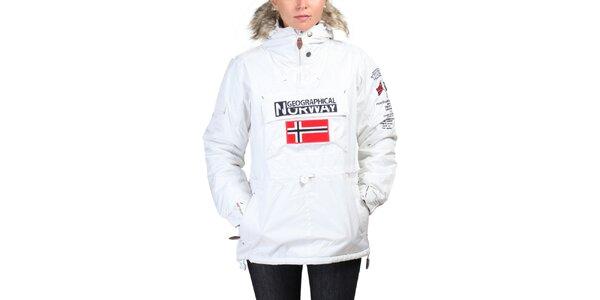 Dámska biela bunda s norskou vlajkou Geographical Norway
