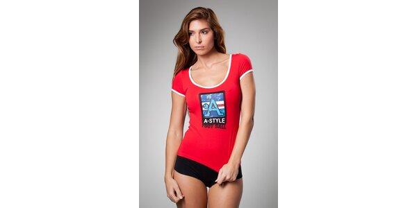 Dámske červené tričko A-Style s potlačou