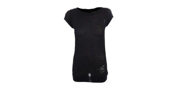 Dámske čierne tričko s malou potlačou Loap