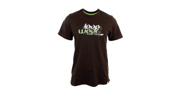 Pánske hnedé tričko s potlačou Loap