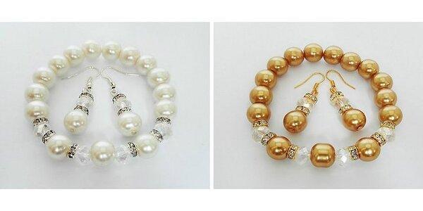 Ručne vyrábaná slávnostná súprava šperkov s leskom korálikov Swarowski