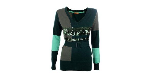Dámsky zelený sveter s flitrami Phard