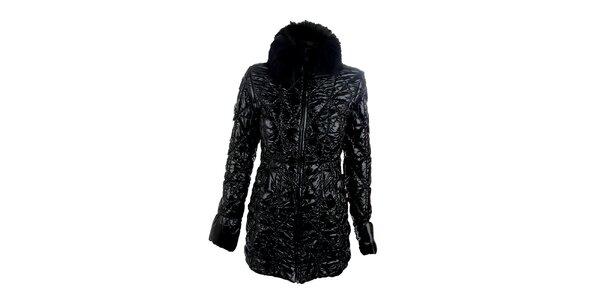 Dámsky čierny lesklý kabát Phard