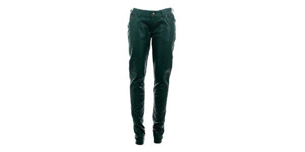 Dámske fľaškovo zelené úzke nohavice Phard