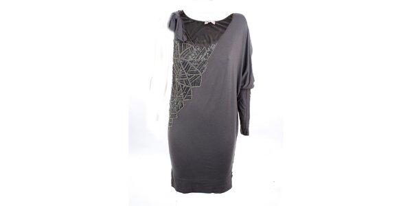 Dámske šedé elegantné šaty s flitrami Phard